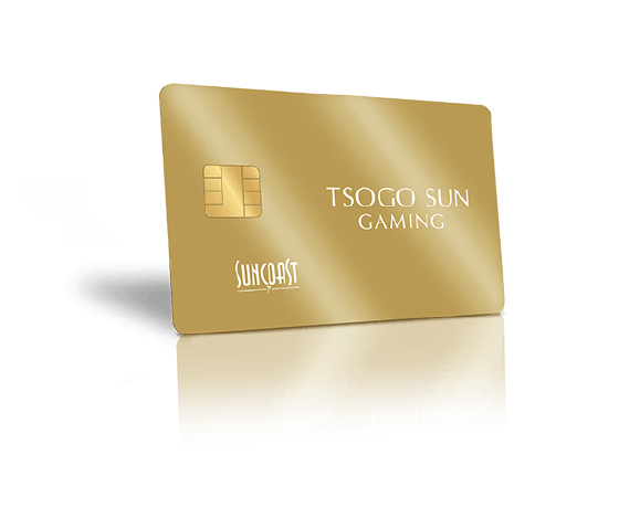 The new Suncoast casino gold rewards card on transparent background