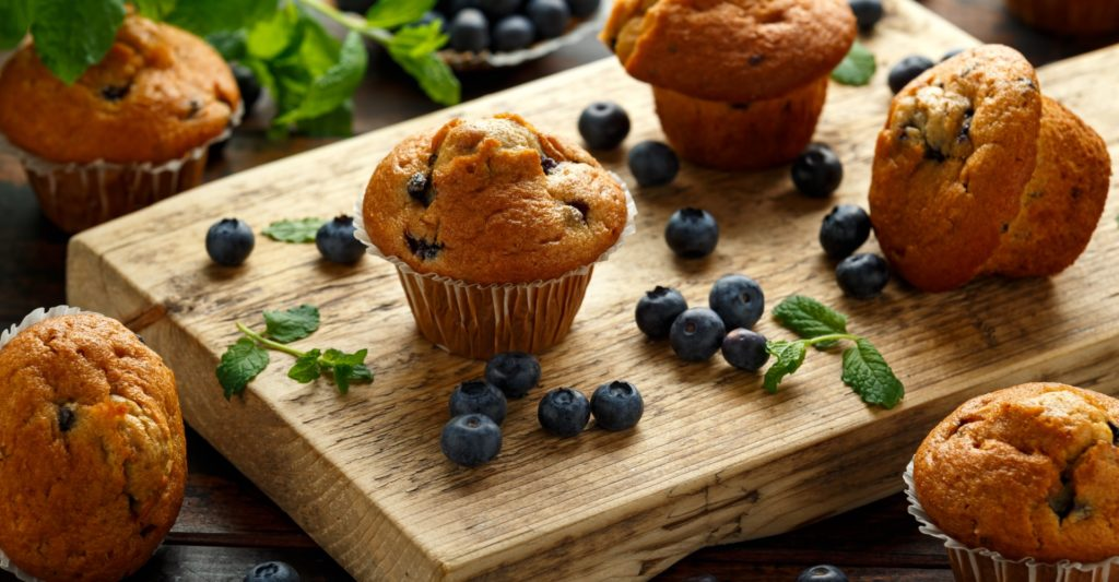 Landscape view of the blueberry muffin on display