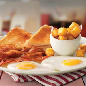 Wimpy's toast, eggs and bacon with chips on display square image