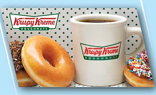 Kripsy Kreme's cup of coffee with donuts