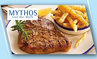 Steak and chips for the Mythos offer image