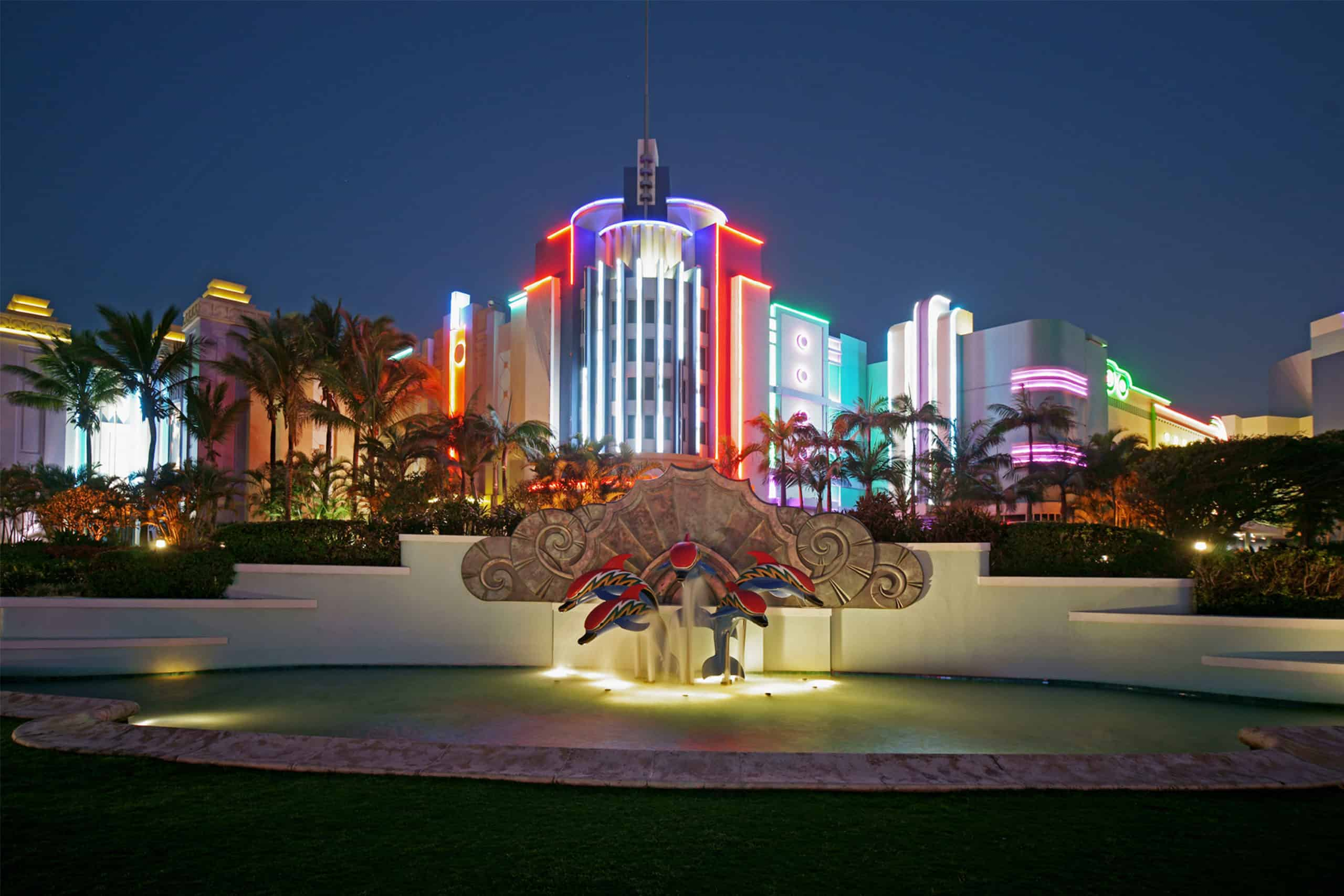Suncoast casino exterior lights at night