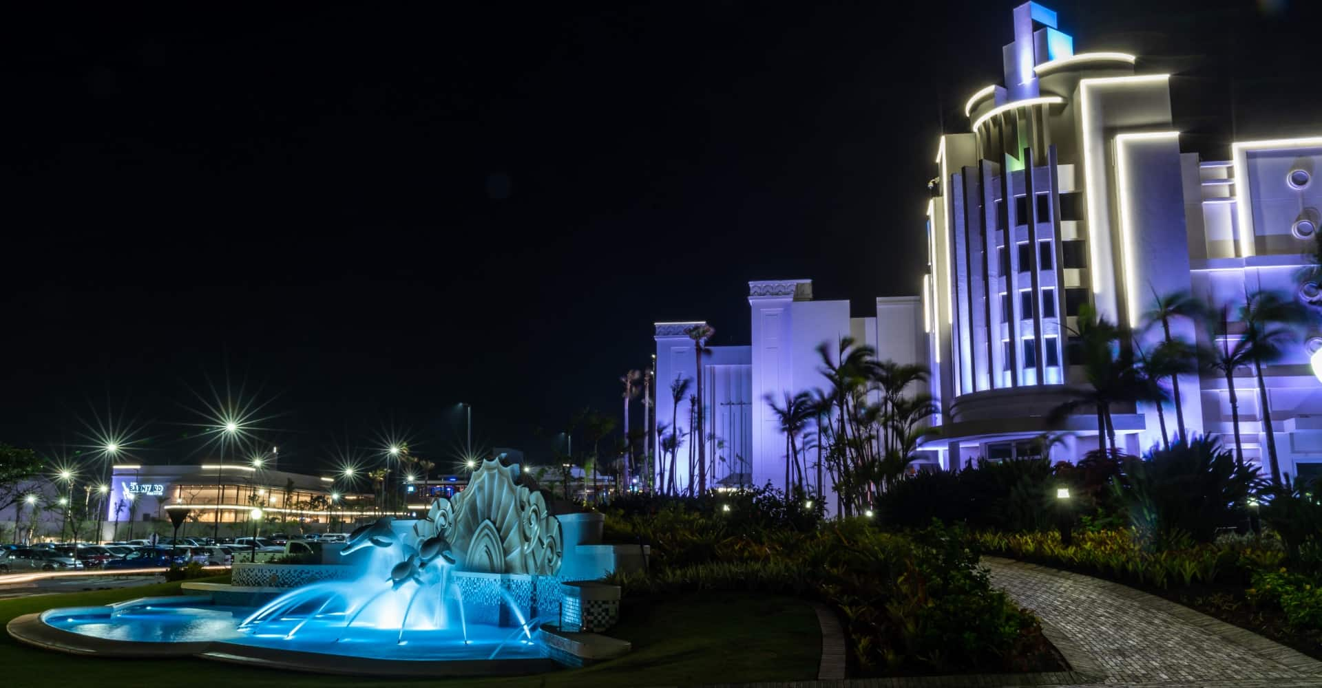 Suncoast Casino Lit up view at night