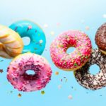 Colourful donuts displayed