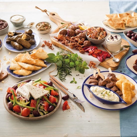 Variety of food displayed square banner