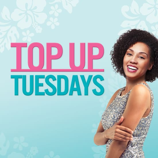 Top Up Tuesdays square banner with a smiling lady